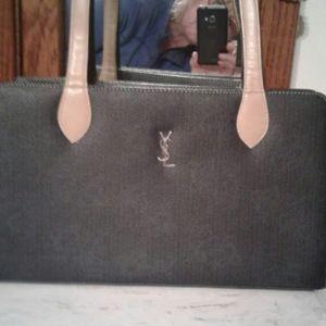 YSL vintage wide purse dark navy
